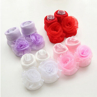 Fashion Baby Girl Princess Lace Rose Flowers Infant Toddler Soft Cotton Socks GT