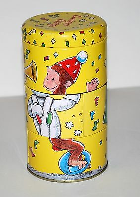 Curious George Twisting Can toy collectible 1995 Tin Litho Retro Schylling dents