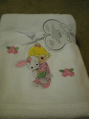 "Precious Moments White/Pink Plush Baby Girl Blanket 30"" X 40"""