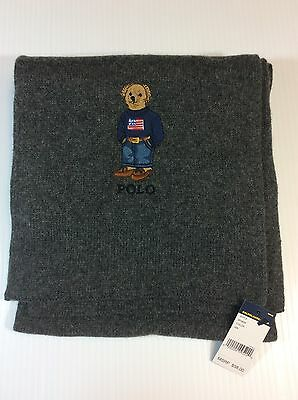 Nwt Mens Polo Ralph Lauren Scarf Polo Bear Gray Cotton Blend New