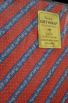 Vtg ALL OCCASION Gift Wrap Red/White/Blue Flowers by Flourish Sealed Hippies