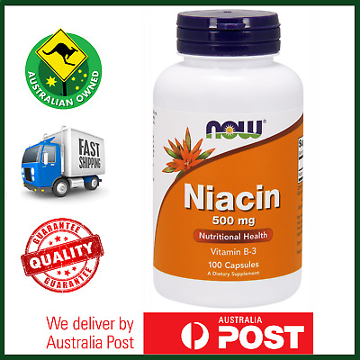 BEST PRICE Niacin 500mg 100 Capsules by NOW Foods - Vitamin B-3 -FAST SHIP