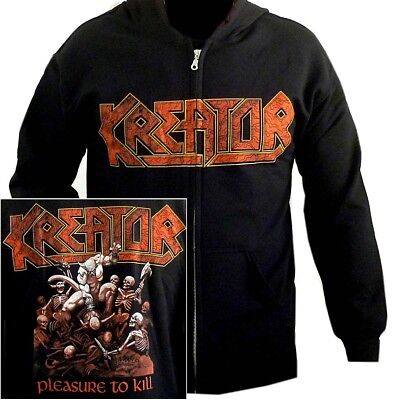 Kreator Pleasure To Kill Zip Hoodie M L XL Officl Black Hooded Sweatshirt Hoody