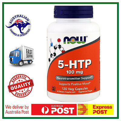 5-HTP 100mg 120 Veg Caps by NOW Foods - Supports Mood + Sleep - AUS STOCK