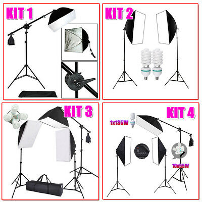Photography Studio Softbox Boom Lighting Soft Box Arm Light Stand Continuous Pro