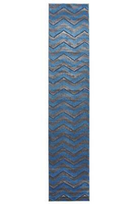 80x400cm Runner Modern Floor Rug ICONIC BLUE GREY Zig Zag Chevron Mat IC714B