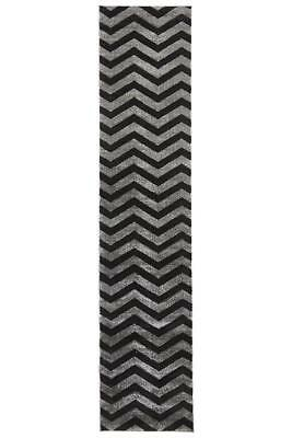 80x400cm Runner Modern Floor Rug ICONIC BLACK GREY Zig Zag Chevron Mat IC714CH