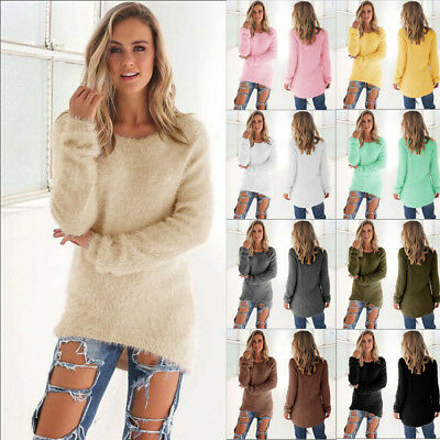 Vogue Women's Long Sleeve Knitted Pullover Jumper Casual Sweater Knitwear Tops