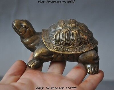 Old Chinese fengshui bronze Carved longevity animal turtle tortoise lucky statue