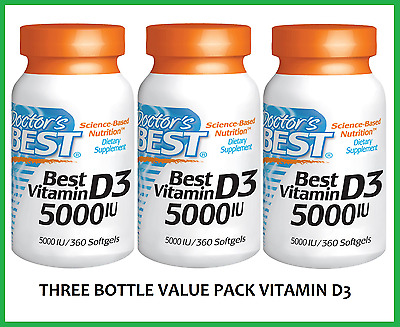3x Doctor's Best Vitamin D-3 5000 IU 1080 TOTAL Softgels VALUE PACK FAST SHIP D3