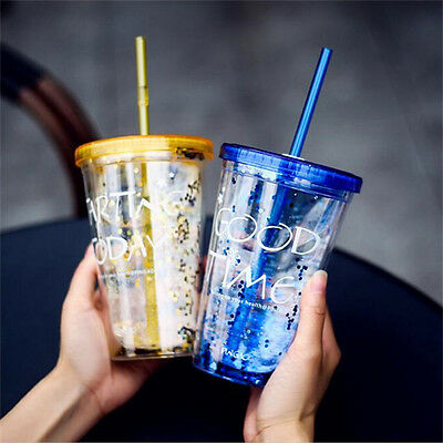 Fashion BlingBling Summer Straw Cup 450ml Double Plastic Cup Water Bottle HIUK