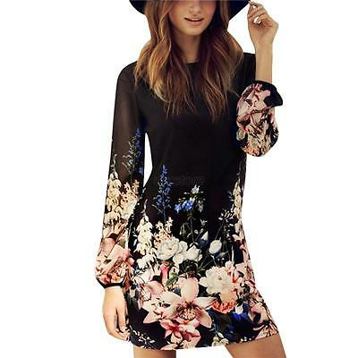 Fashion Women Floral Chiffon Dress Long Sleeve Evening Cocktail Party Mini Dress
