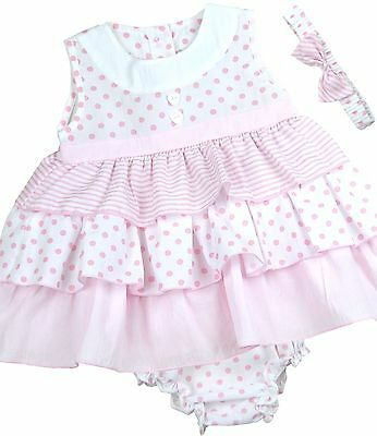 BabyPrem Baby Girls Dresses Clothes Pink Layered Dress Headband & Pants 6 - 18m