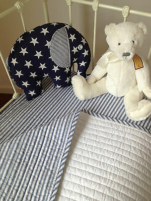 Coastal Stripe Cameron Boys Quilted Cot Coverlet Brib Blanket Designers Choice