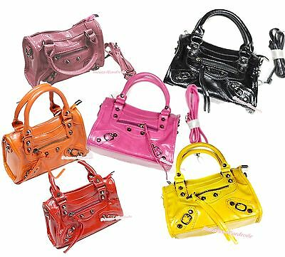 Various Color Leather Rivet Motorcycle Handbag Girl Kids Shoulder Children Purse