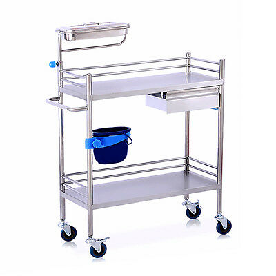 Yes New Hospital Clinic Medical Dental Lab Serving Cart Trolley Two Layer Drawer