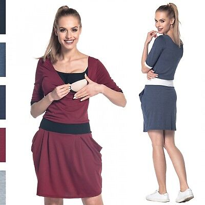 Happy Mama. Women's Breastfeeding 2in1 Dress Nursing Half Sleeves Pockets. 698p