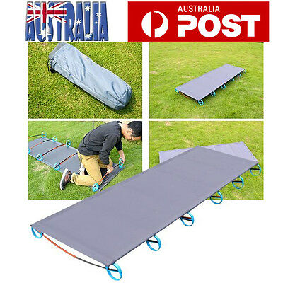 Folding Camping Bed Stretcher Light Weight Camp Portable w/ Carry Bag AU