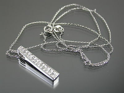 VINTAGE 9ct WHITE GOLD NECKLACE with DIAMOND SET PENDANT 18 inch C.1980