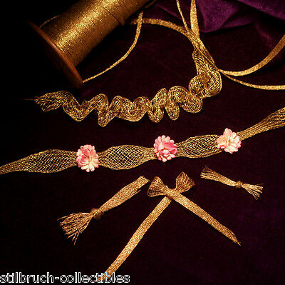 Antique vtg gold metal trim mesh ruch lace rococo ribbon work rosette doll 1/5""
