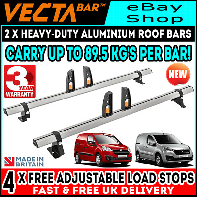 Peugeot Partner / Citroen Berlingo Roof Rack Bars Rails SWB L1 LWB L2 2008-2018