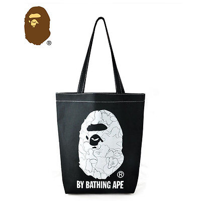 A Bathing Ape Bape Head Nylon Oxford Black Tote Shopping Bag Jap Magazine