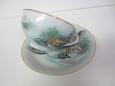 Antique Marked Kutani Hp Porcelain Cup And Saucer With Lithopane Picture