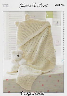 James C Brett Jb174 Hooded Blanket Original Knitting Pattern
