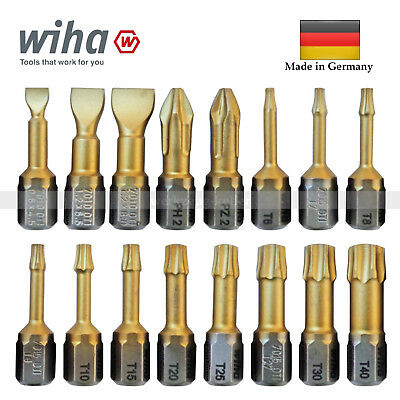 WIHA TiN-Torsions-Bits - Phillips PH2 Pozidriv PZ2 Torx T6-T40 (Made in Germany)