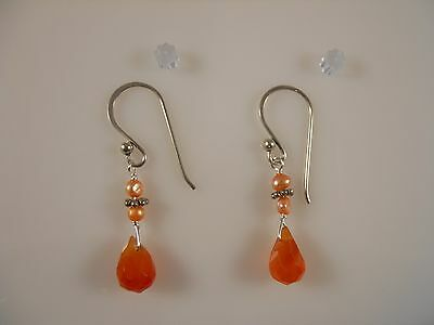 Sterling Silver, Faceted Pear Shape Carnelian With Freshwater Pearl Earrings