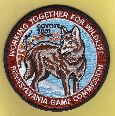 "Pa Pennsylvania Game Fish Commission NEW 2001 WTFW Eastern Coyete Wolf 4"" Patch"
