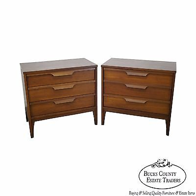 Danish Style Pair of Vintage Walnut 3 Drawer Chests Nightstands