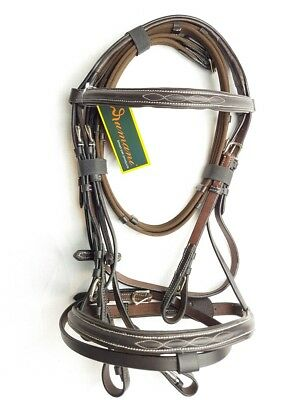 Rumani Leather Bridle with Raised Noseband & Browband with Antislip Reins