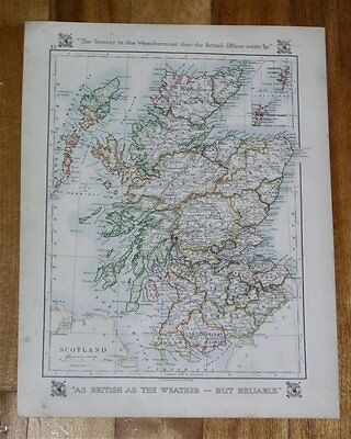 1921 Map Of Scotland Highland Pertshire Angus Fife Borders / London England