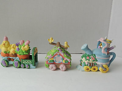 Lighted Cottontale Cottages 3-Pc Train Set Hand-Painted Porcelain Easter Bunnies
