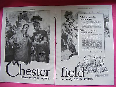 1929 Chesterfield Cigarettes Full 2 Page Advertisement Original Vintage Print Ad