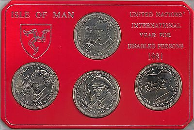 IOM Isle of Man Manx 1981 4 Crowns International Year Of The Disabled Hard Case