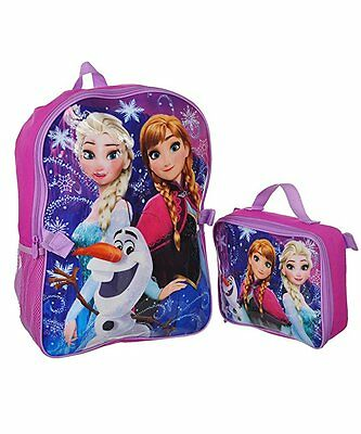 """Disney Frozen Anna & Elsa """"Power Trio"""" 16"""" Backpack With Lunch bag Set"""