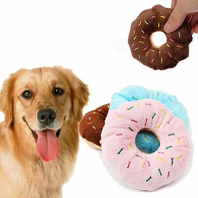 Lovely Pet Dog Puppy Cat Tugging Squeaker Quack Sound Toy Chew Donut Play Toys