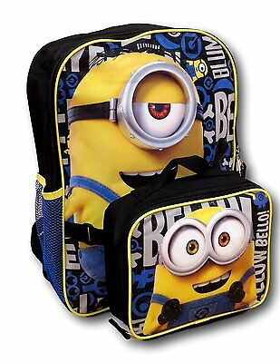 New Arrive Despicable Me Minions Backpack with Detachable Insulated Lunch Box