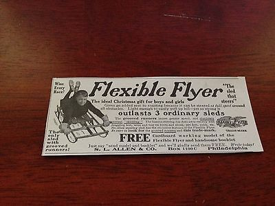 "1912 VINTAGE Print Ad 2""X5"" FLEXIBLE FLYER ""THE SLED THAT STEERS"" S.L. ALLEN &CO"
