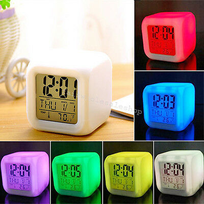 7 LED Colors Changing Digital Alarm Clock Thermometer Date Night Light LCD Home