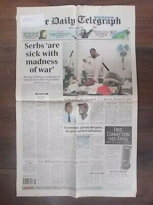 VINTAGE NEWSPAPER DAILY TELEGRAPH APRIL 19th 1994 BRIAN LARA SCORES RECORD 375
