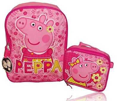 """New Peppa Pig 16"""" Backpack with Detachable Insulated Lunch Box"""
