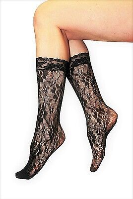Calf Highs Tights - Black Flower Pattern (3 pack)