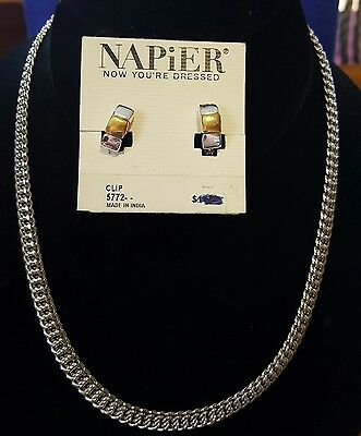 vintage Napier necklace and clip on earrings silver tone chain