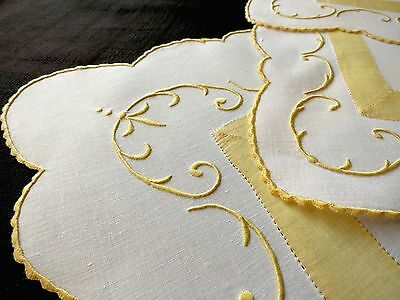 GORGEOUS 3pc Antique MADEIRA Hand Embroidered Linen Dresser Set UNUSED Yellow