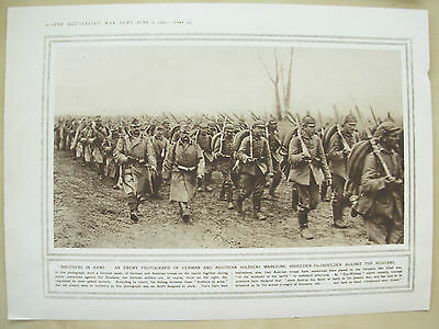 A Page Ww1 Illustrated War News 1915 German & Austrian Soldiers March Together