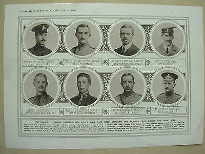A Page Ww1 Illustrated War News 1915 8 Heroic Soldiers Awarded Vc Victoria Cross