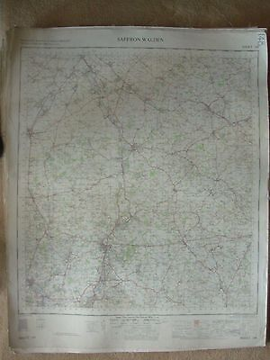 SAFFRON WALDEN LARGE OS WALL MAP 1in LINEN BACKED 1954